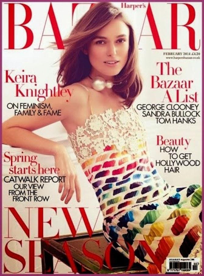 Keira Knightley en couverture d'Harper's Bazaar Uk