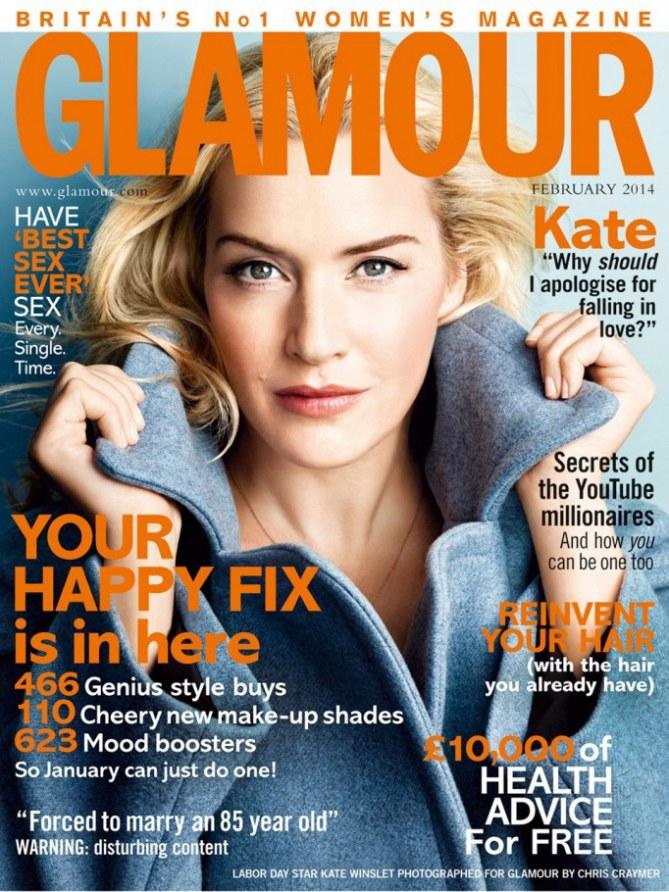 Kate Winslet en couverture de Glamour Uk