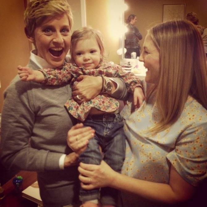 Drew Barrymore avec sa fille Olive et Ellen De Generes