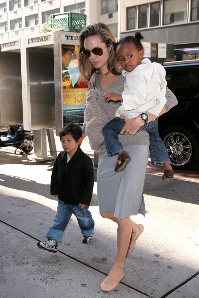 Angelina Jolie with Zahara and Pax