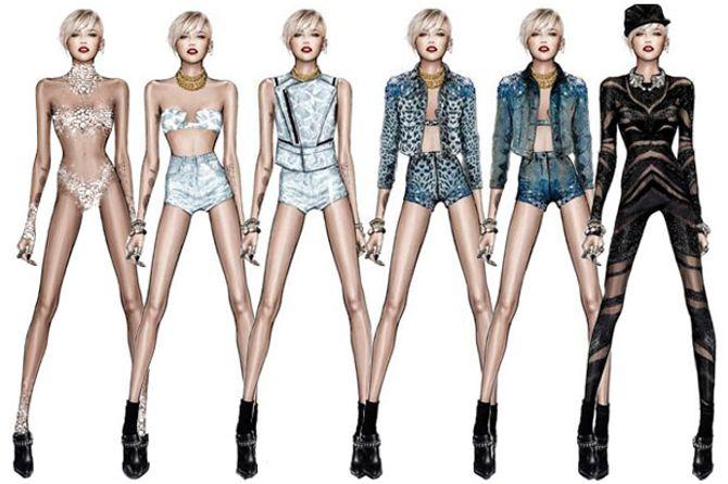 Les looks de Miley Cyrus, pour sa tournée, signés Roberto Cavalli