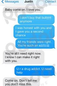 Justin Bieber and Selena Gomez texts