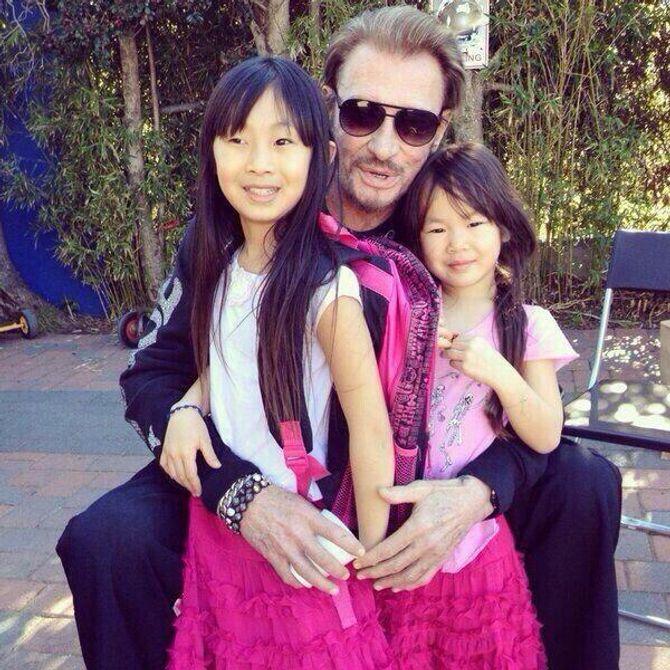 Johnny Hallyday et ses deux filles