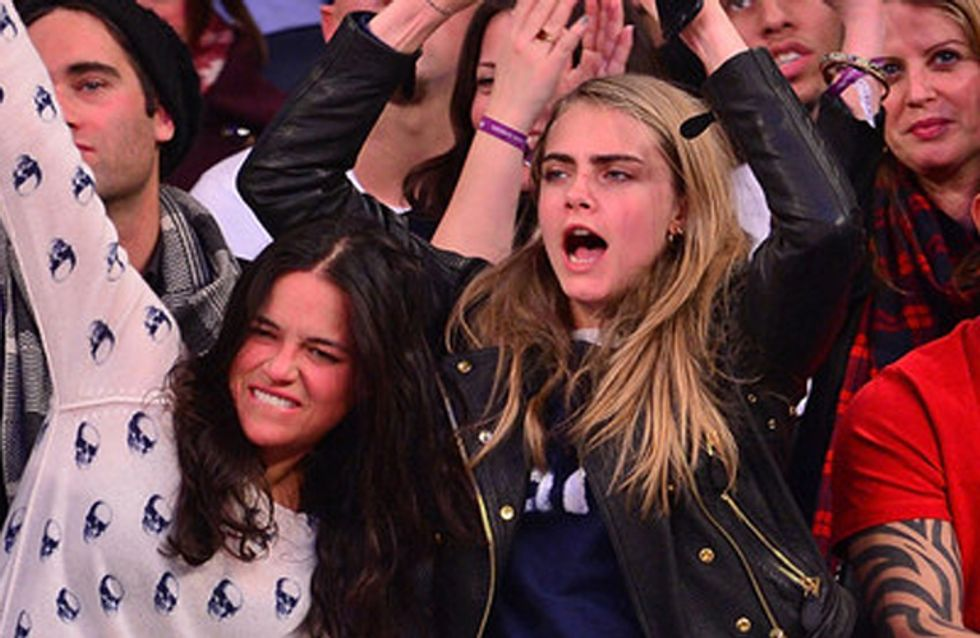 New besties Cara Delevingne and Michelle Rodriguez spar with lightsabers in London