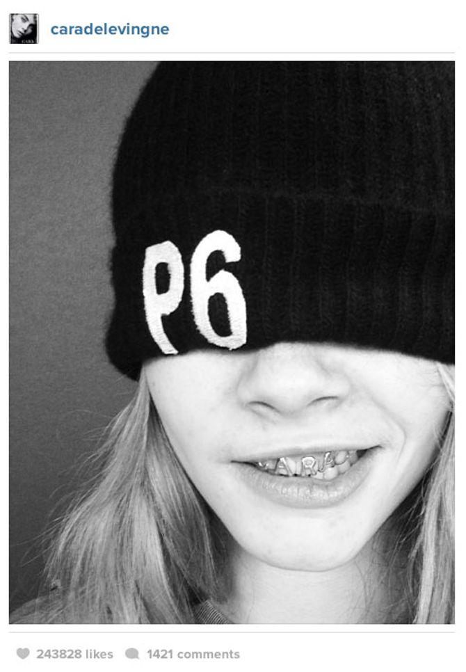 Cara Delevingne s'affiche avec le bonnet Principle 6 d'American Apparel