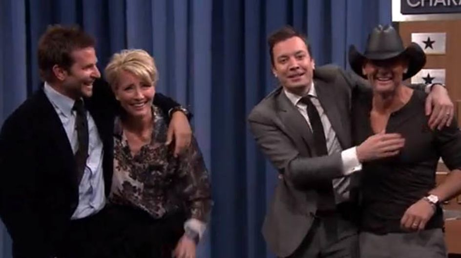 WATCH: Bradley Cooper and Emma Thompson play charades and it is amazing