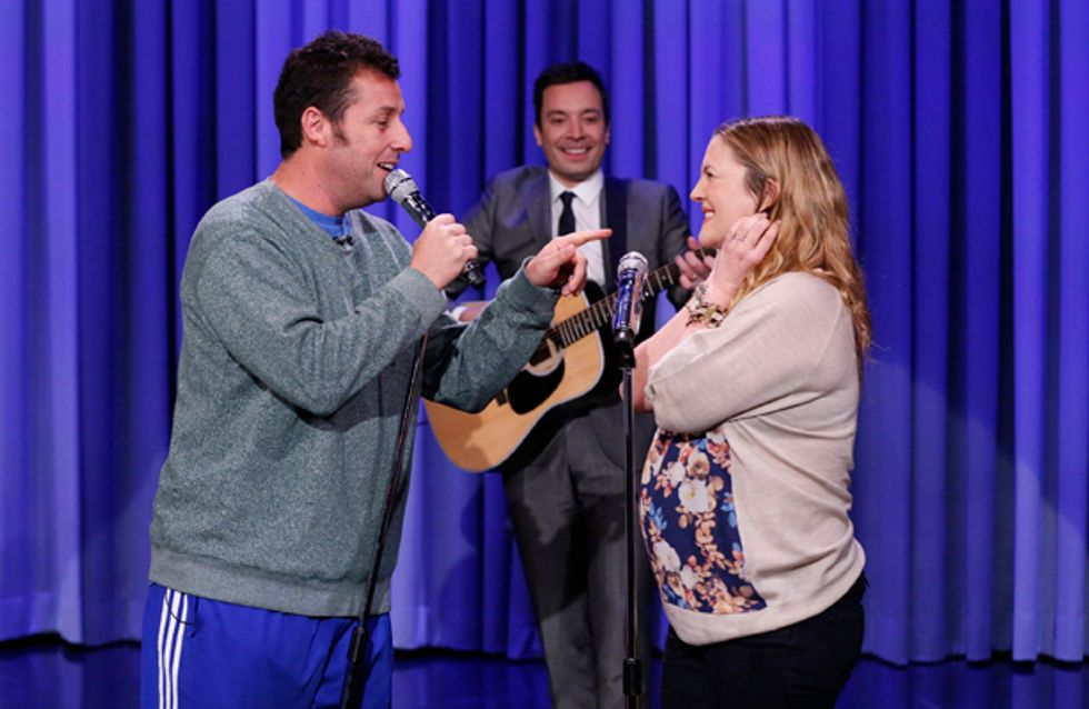 """WATCH: Drew Barrymore and Adam Sandler sing hilarious romantic duet on """"The Tonight Show"""""""