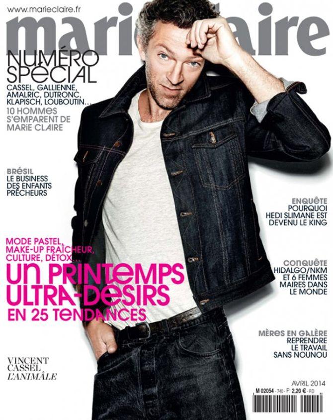 Vincent Cassel : Pionnier, il est le premier homme en couverture de Marie Claire