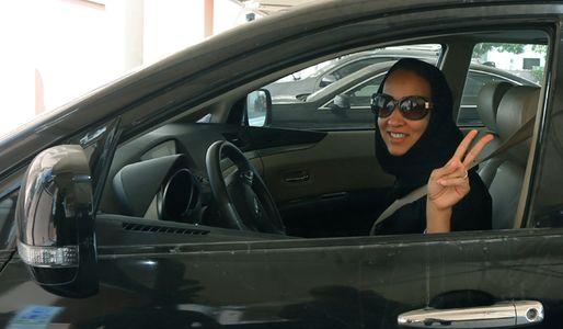 Saudi female activist driving car