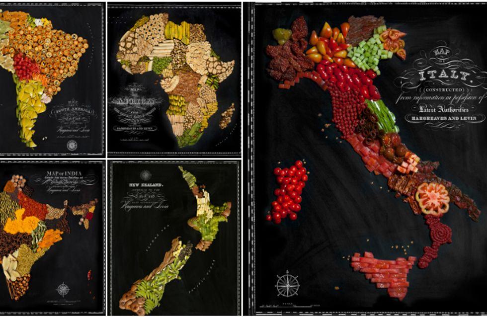 Le mappe del mondo realizzate con i cibi tipici. Guarda le foto, dall'Italia all'Australia