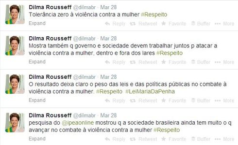Twitter da presidente: Dilma fala sobre a violência no microblog