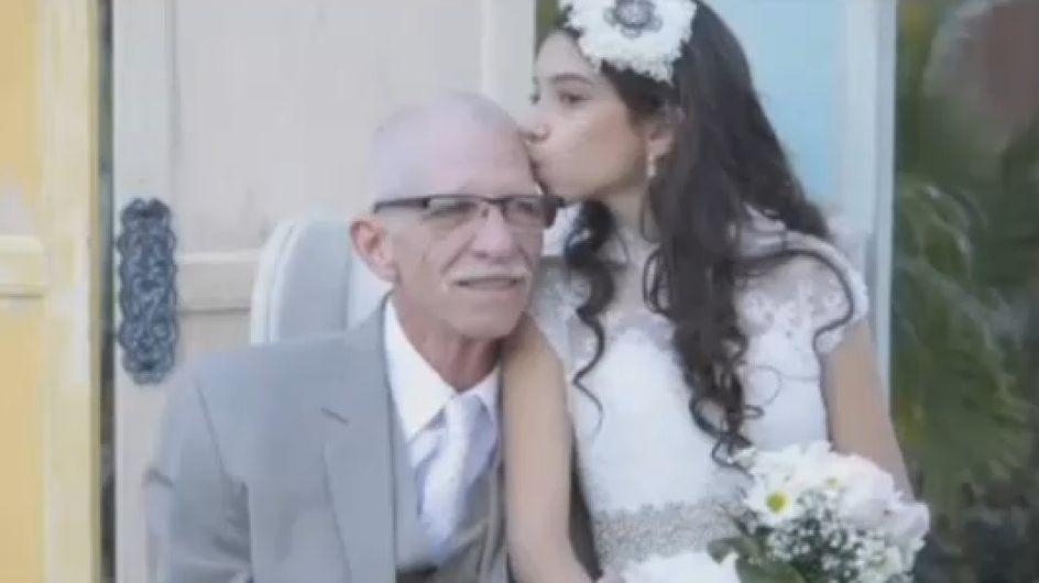 """Elle se """"marie"""" pour ses 11 ans afin que son père mourant puisse la conduire jusqu'à l'autel (vidéo)"""