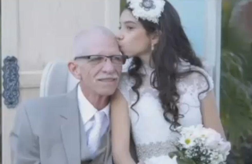 Elle se marie pour ses 11 ans afin que son père mourant puisse la conduire jusqu'à l'autel (vidéo)