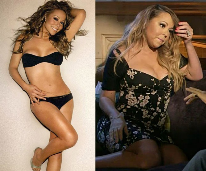 Due foto a confronto di Mariah Carey