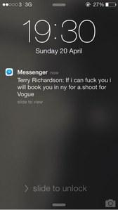 Le fameux message reçu par Emma Appleton