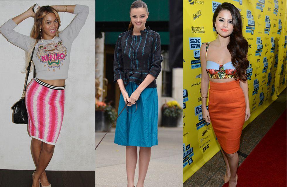 Miranda Kerr, Beyoncé, Selena Gomez... Elles craquent toutes pour la jupe midi