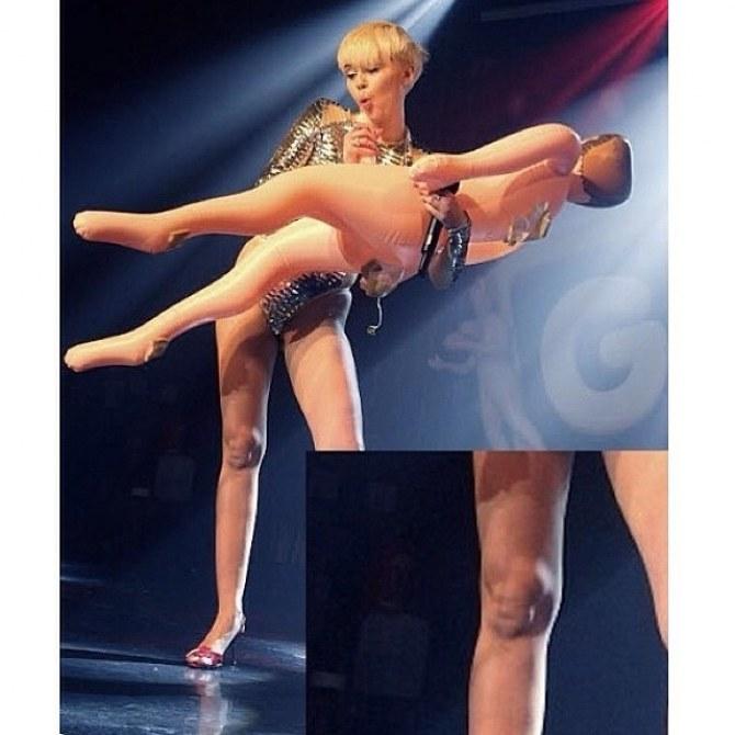 Le genou de Miley en Seth Rogen