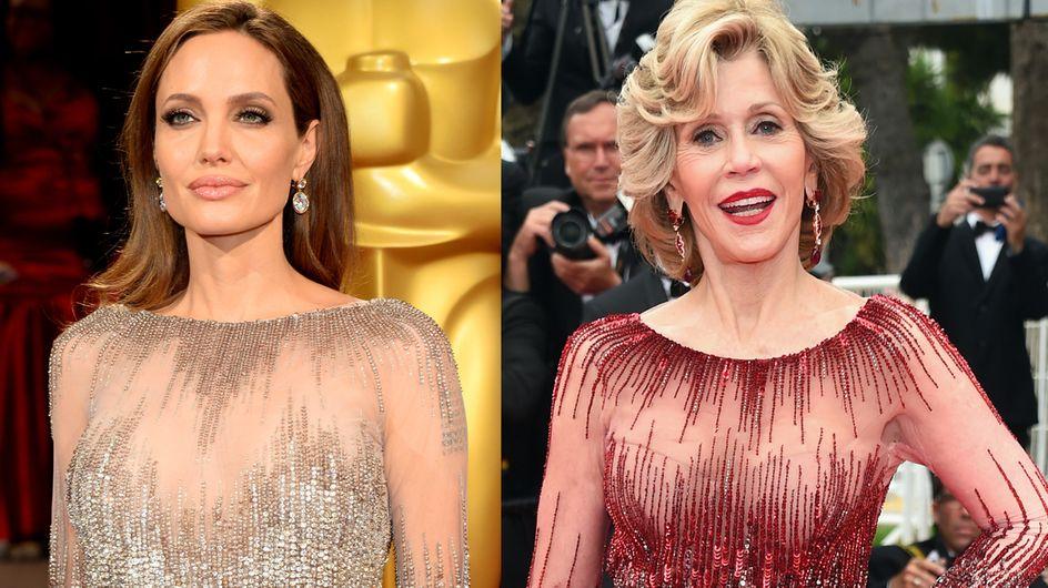 Angelina Jolie vs Jane Fonda : Qui porte le mieux la robe en tulle Elie Saab ?