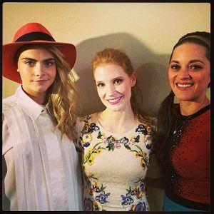 Cara Delevingne, Jessica Chastain et Marion Cotillard après le Grand Journal