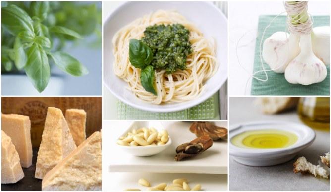 Die Zutaten für ein original italienisches Pesto-Rezept
