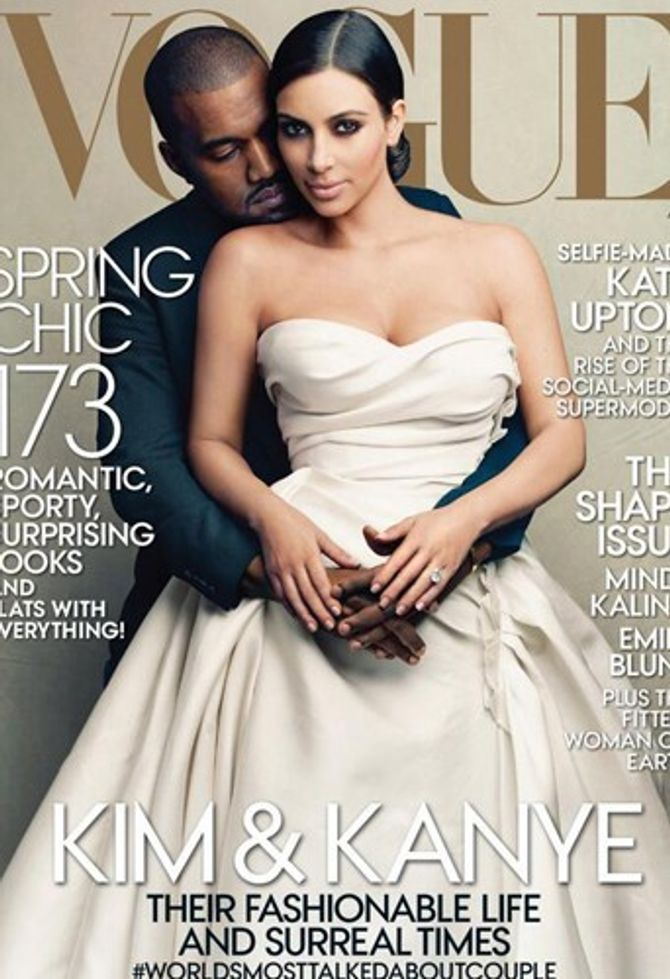 Kim Kardashian et Kanye West couverture de Vogue avril 2014