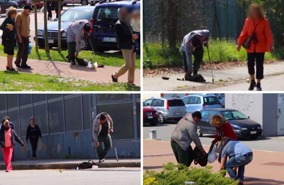 Video/ Un senzatetto ha bisogno di aiuto: le reazioni dei passanti. E tu cosa faresti?