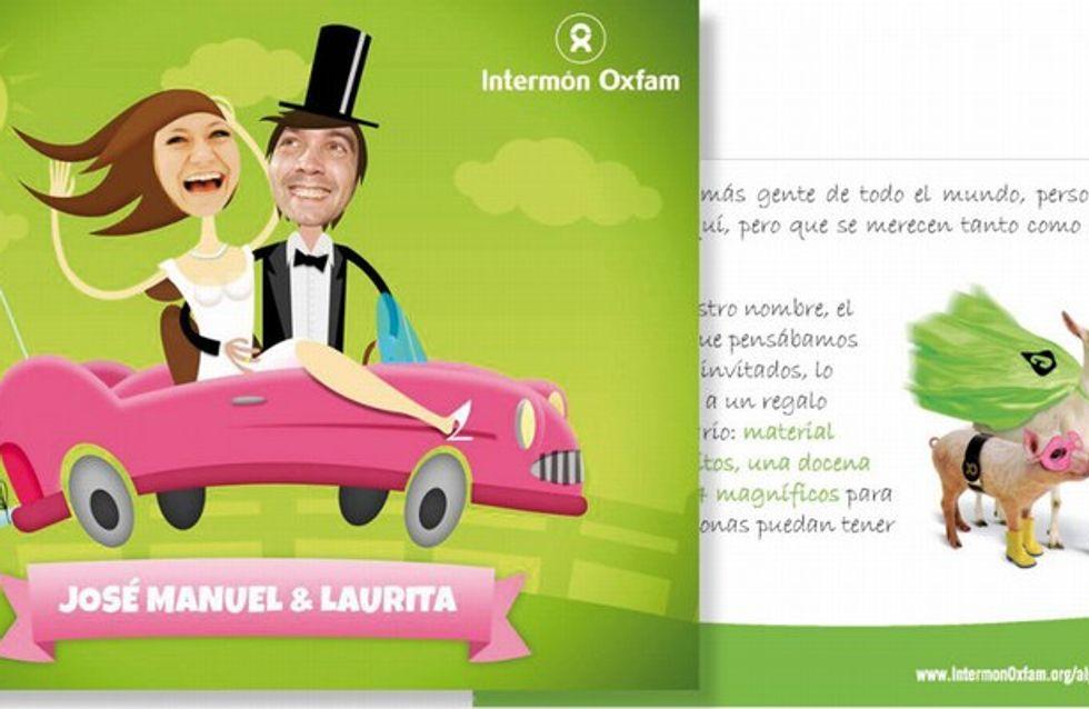 ¡Sé solidario en tu boda con tarjetas de Intermón Oxfam!