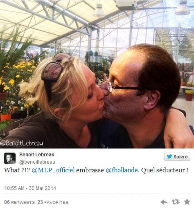 Le selfie de Marine Le Pen et Louis Aliot détourné