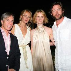 Tommy Hilfiger con Cynthia Nixon y Hugh Jackman en el aniversario de su tienda de Atenas