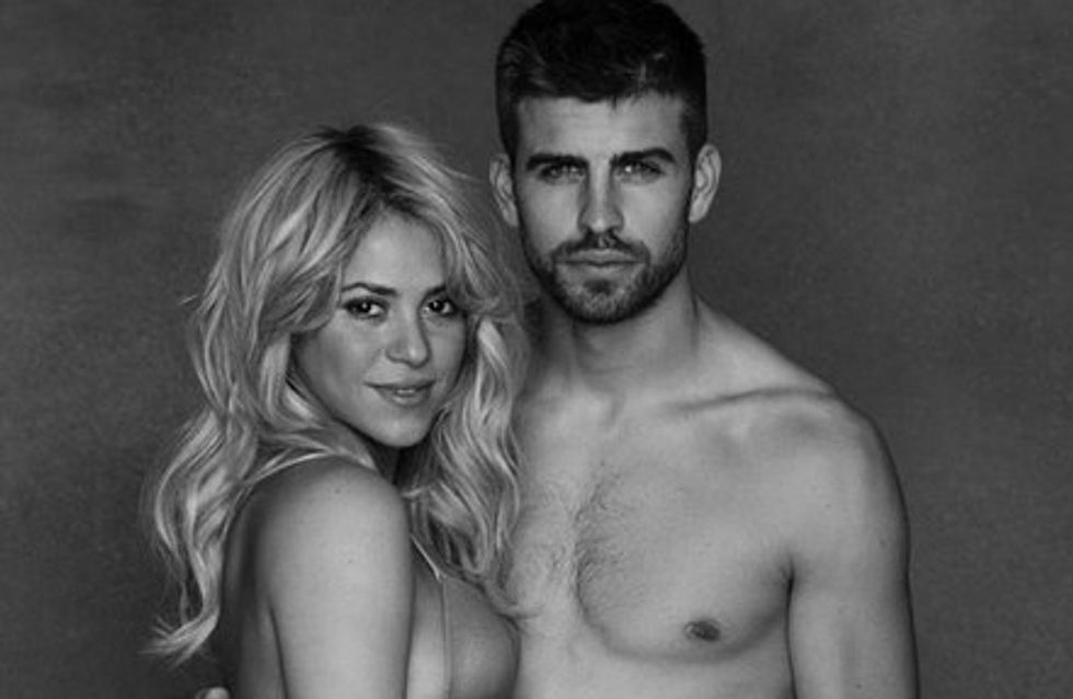 Shakira y Piqué posan semidesnudos para celebrar la llegada de su hijo