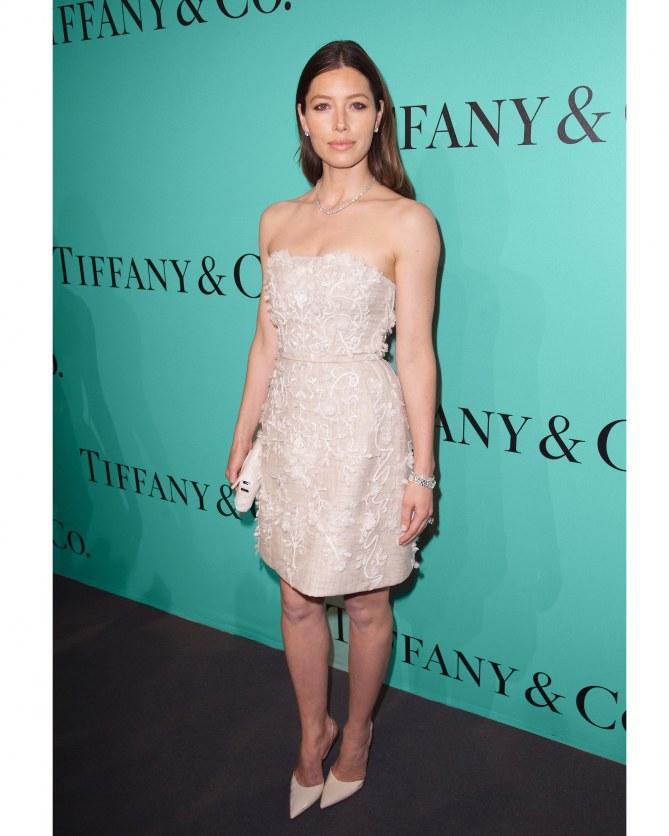 Jessica Biel à la soirée Tiffany & Co à Paris le 10 juin 2014
