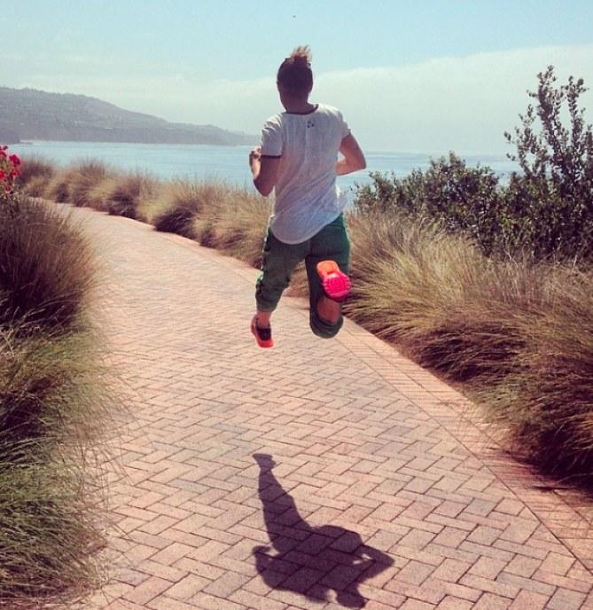 Elisabetta Canalis mentre fa sport