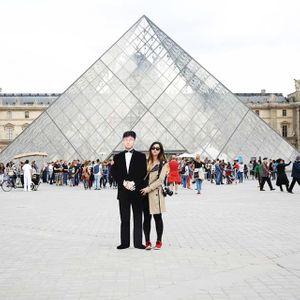 Jinna Yang et son père à Paris