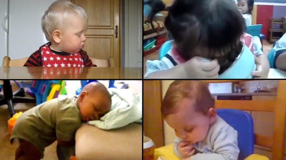Video/ Mamma non riesco a tenere gli occhi aperti... Bambini che crollano letteralmente dal sonno