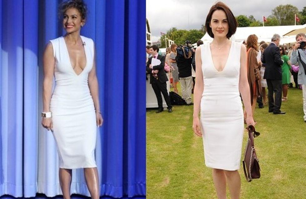 Match de looks : Michelle Dockery VS Jennifer Lopez en robe blanche et décolleté plongeant
