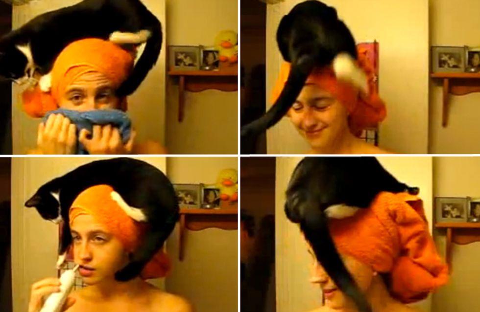 Video/ Un gatto come asciugamano: ecco come questa ragazza è costretta a lavarsi i denti