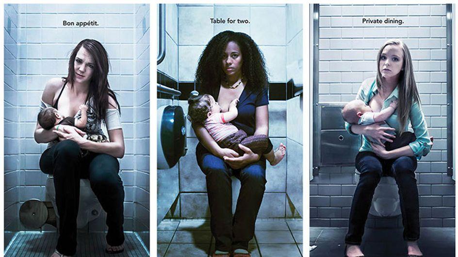 Augen auf! Diese schockierenden Plakate zeigen, was stillende Mütter oft ertragen müssen