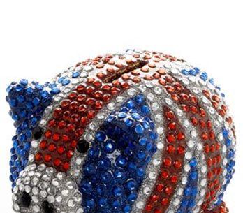Union Jack diamante piggy bank