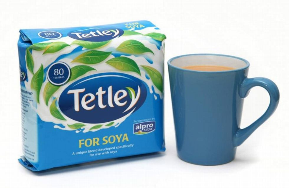 Drinking tea with soya milk