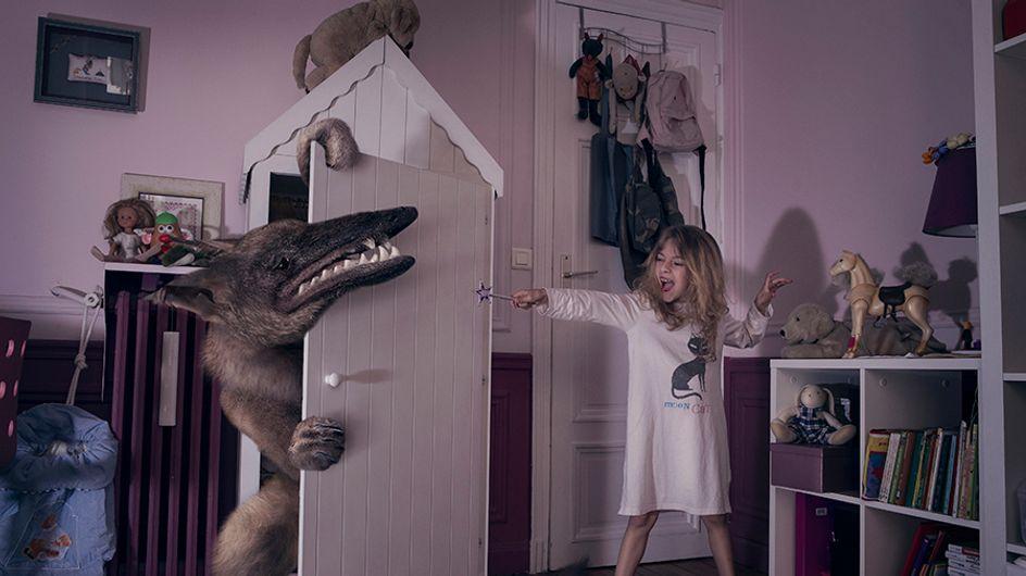 Una genial sesión fotográfica muestra a 6 niños luchando contra los monstruos de sus dormitorios