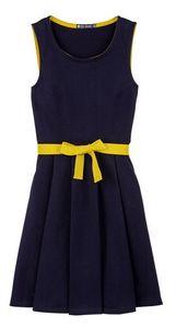 Petit Bateau - Dikke jersey jurk en gekleurde riem