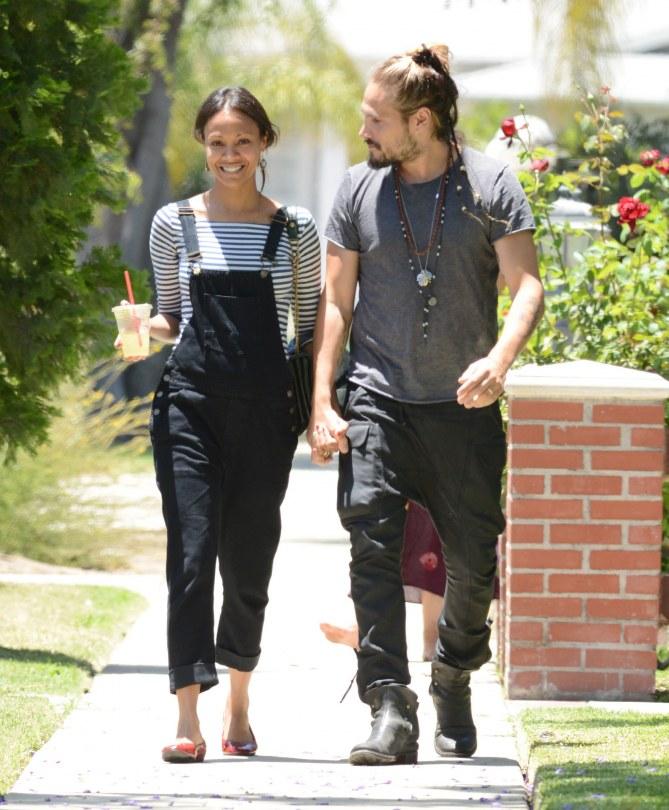 Zoe Saldana con il marito Marco Perego