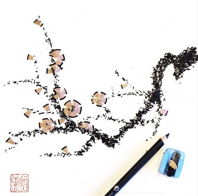 Una matita temperata diventa un ramo in fiore