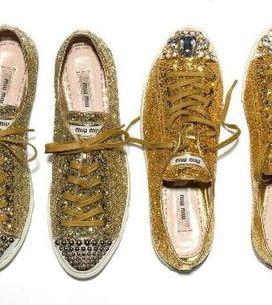 Sneaker glitterate per Miu Miu