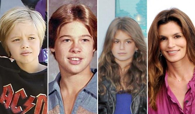 Brad Pitt e Cyndy Crawford con le rispettive figlie