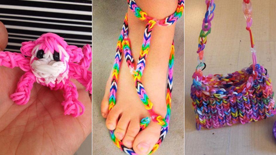 Looooom! Aus Loom Bands werden Kleider, Sandalen, Taschen, Schlüsselanhänger und noch mehr ...