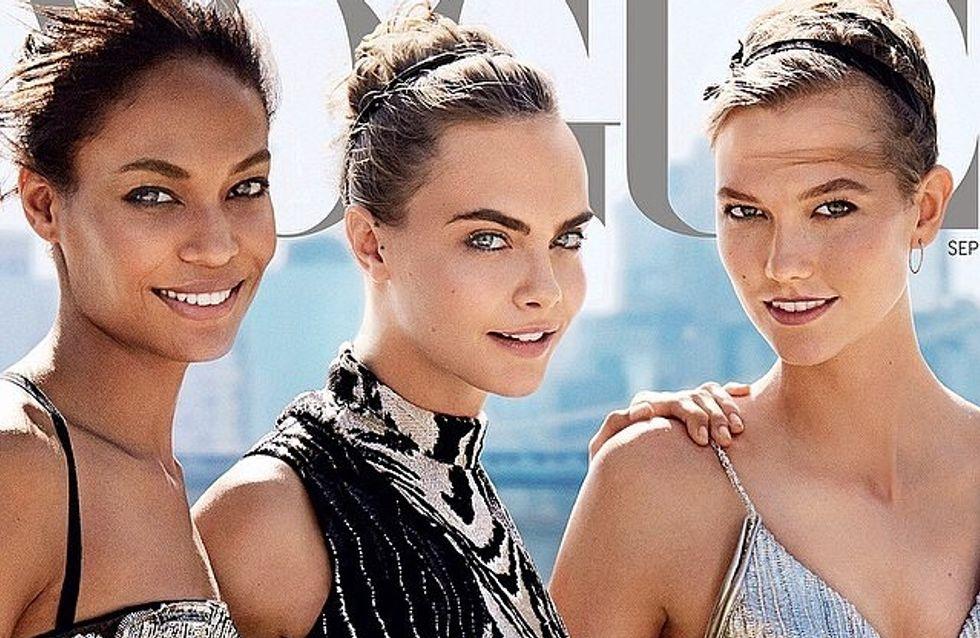 Cara Delevingne, Karlie Kloss et Joan Smalls : Trio de charme en couverture de Vogue