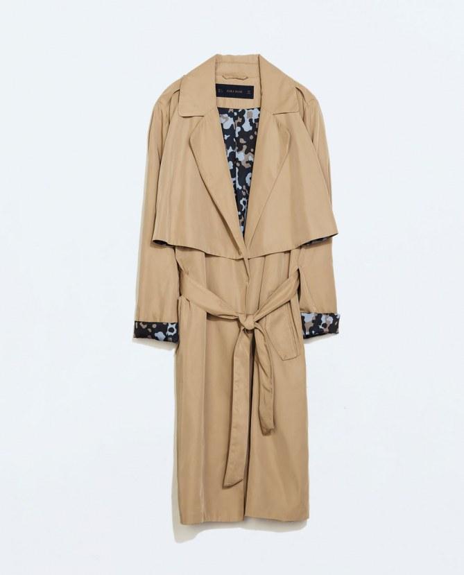 Trench fluide camouflage Zara, 59.95 euros