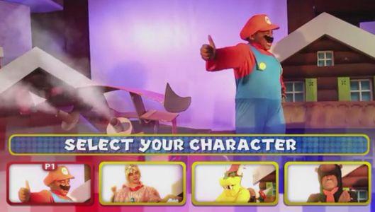 Marion, Peach, Bowser et Donkey pour la course Super Mario Karton