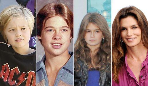 Brad Pitt y Cyndy Crawford con sus respectivos hijos